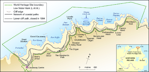 Giant's Causeway and Causeway Coast WHS map