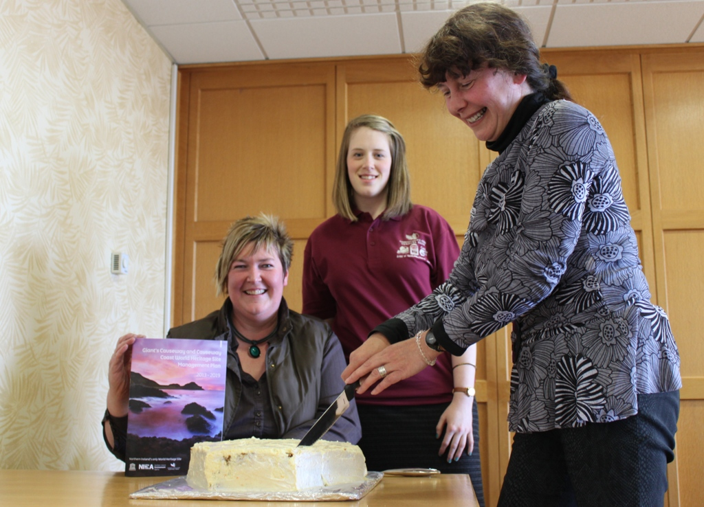 Sandi Howie (NIEA) officially launching the Management Plan with Sandra Hunter (Local landowner) and Nikki Maguire (CCGHT